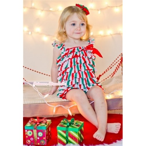 Christmas Stick Petti Romper with Red Bow & Straps LR125