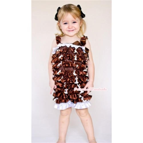Rugby Petti Romper with Brown Bow & Straps LR124
