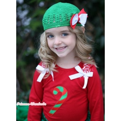 Christmas Stick Print Red Long Sleeves Top with Red White Striped Ruffles & White Bow TW311