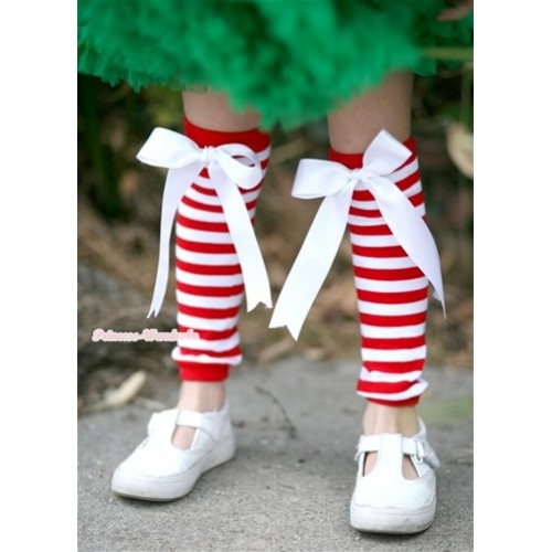 Newborn Baby Red White Striped Leg Warmers with White Bow LG215
