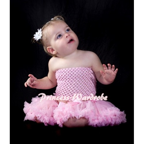 Light Pink Crochet Tube Top with Light Pink Baby Pettiskirt CT64