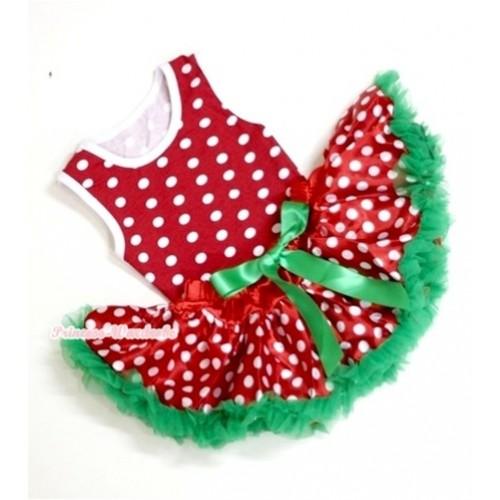 Minnie Newborn Pettitop with Christmas Polka Dots Newborn Pettiskirt NG1084