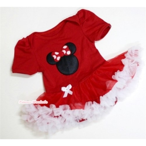 Red Baby Jumpsuit Red White Pettiskirt with Minnie Print JS002