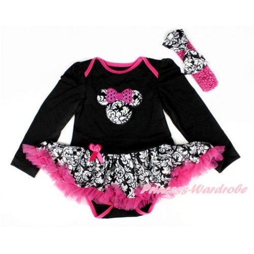 Black Long Sleeve Baby Bodysuit Jumpsuit Damask Hot Pink Pettiskirt With Sparkle Hot Pink Damask Minnie Print & Hot Pink Headband Damask Satin Bow JS2542