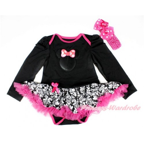 Black Long Sleeve Baby Bodysuit Jumpsuit Damask Hot Pink Pettiskirt With Hot Pink Minnie Print & Hot Pink Headband Hot Pink White Dots Silk Bow JS2544
