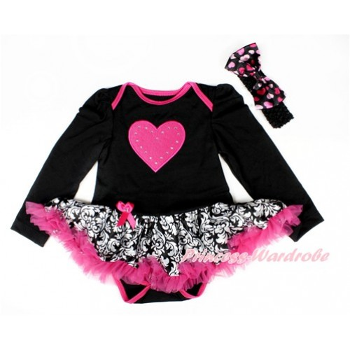 Black Long Sleeve Baby Bodysuit Jumpsuit Damask Hot Pink Pettiskirt With Hot Pink Heart Print & Black Headband Light Hot Pink Heart Satin Bow JS2548