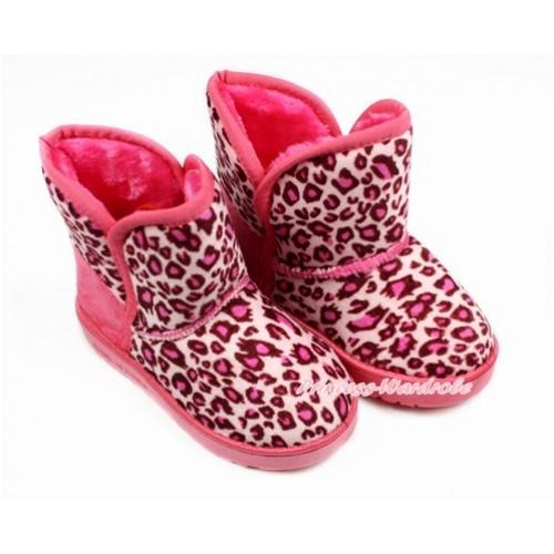 Hot Pink Leopard Warm Children Boots SB39