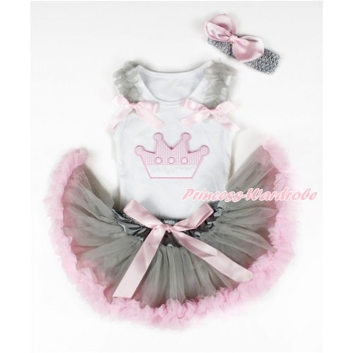 White Baby Pettitop with Crown Print with Grey Ruffles & Light Pink Bows & Grey Light Pink Newborn Pettiskirt With Grey Headband Light Pink Silk Bow NG1325