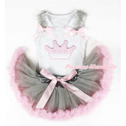 White Baby Pettitop with Crown Print with Grey Ruffles & Light Pink Bows with Grey Light Pink Newborn Pettiskirt NN108