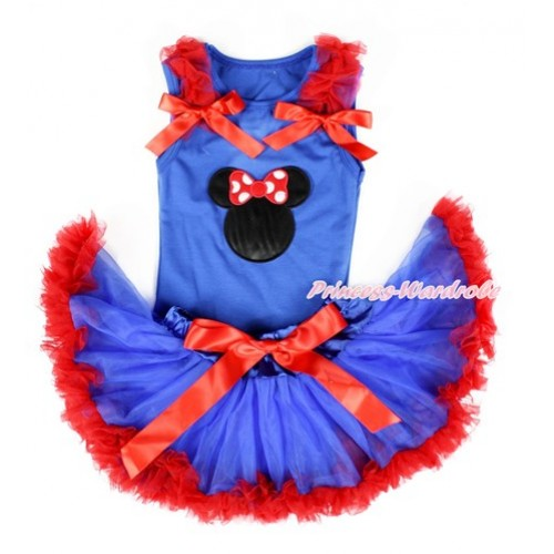 Royal Blue Baby Pettitop with Minnie Print with Red Ruffles & Red Bows with Royal Blue Red Newborn Pettiskirt NG1328