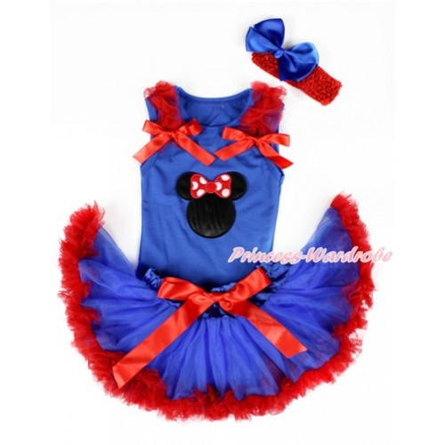 Royal Blue Baby Pettitop with Minnie Print with Red Ruffles & Red Bows & Royal Blue Red Newborn Pettiskirt With Red Headband Royal Blue Silk Bow NG1337