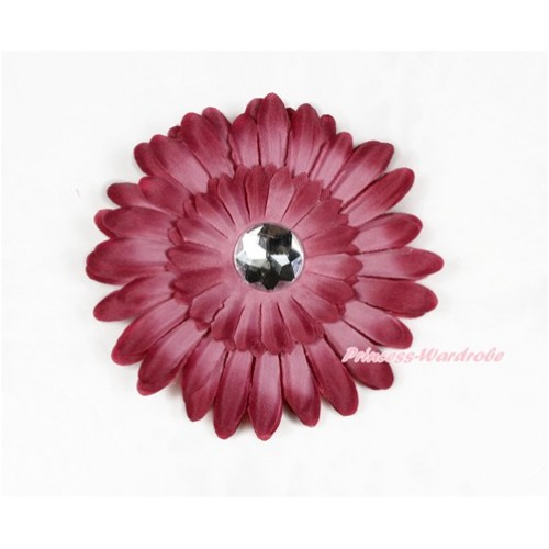 Raspberry Wine Red Crystal Daisy Hair Pin H789