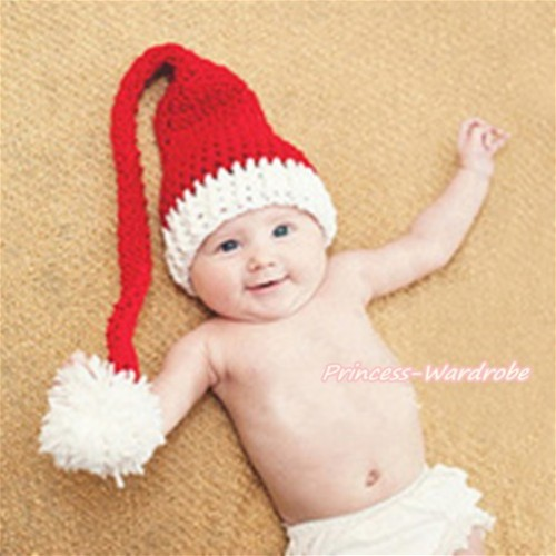 Xmas Santa Claus Hat Photo Prop Crochet Newborn Baby Custome C212