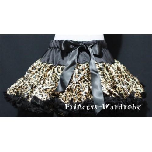 Black Leopard Print Teen Full Pettiskirt XXL AP11