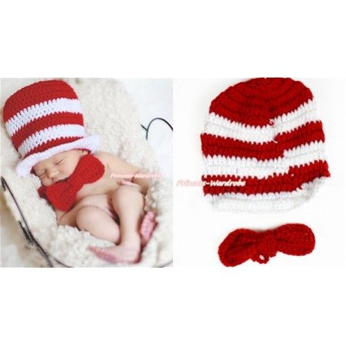Magic Red White Stripe Hat & Red Bow Photo Prop Crochet Newborn Baby Custome C213