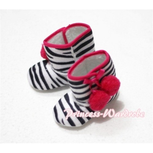 Black White Zebra Print Baby Crib Boots with Red Cherries SB13