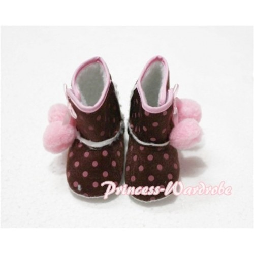 Brown Hot Pink Polka Dot Print Baby Crib Boots with Light Pink Cherries SB14