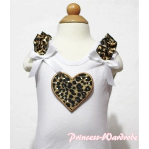 Leopard Heart White Tank Top with Leopard Ruffles and White Bows TB120