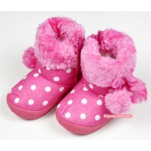 Hot Pink White Polka Dots Warm Children Boots SB30