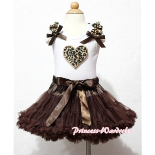 Leopard Heart Print White Tank Top With Leopard Ruffles & Brown Bows with Brown Pettiskirt MM100