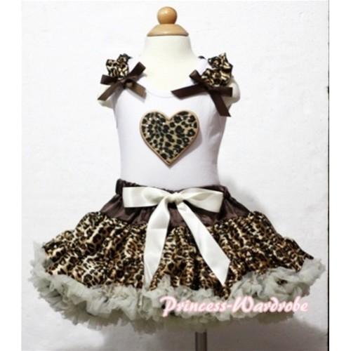 Leopard Heart Print White Tank Top With Leopard Ruffles & Brown Bows with Cream White Leopard Pettiskirt MM102