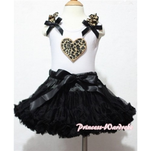 Leopard Heart Print White Tank Top With Leopard Ruffles & Black Bows with Black Pettiskirt MM103