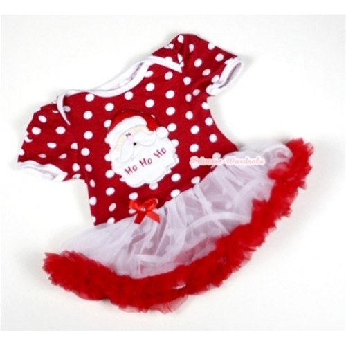 Minnie Dots Baby Jumpsuit White Red Pettiskirt with Santa Claus Print JS009
