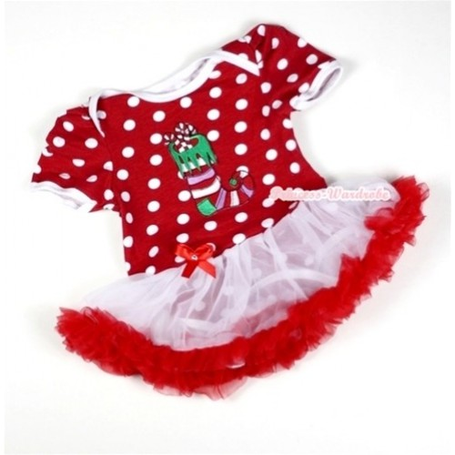 Minnie Dots Baby Jumpsuit White Red Pettiskirt with Christmas Stocking Print JS011