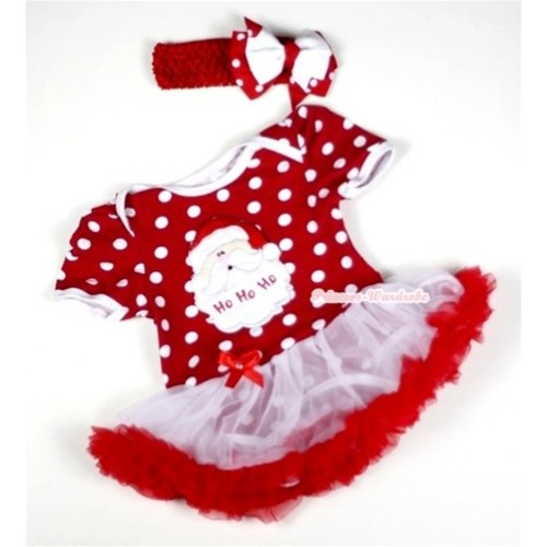 Minnie Dots Baby Jumpsuit White Red Pettiskirt With Santa Claus Print With Red Headband White Red White Polka Dots Ribbon Bow JS017