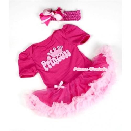Hot Pink Baby Jumpsuit Hot Light Pink Pettiskirt With Princess Print With Hot Pink Headband Hot Light Pink Ribbon Bow JS034