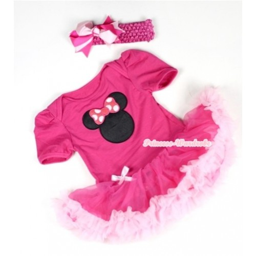 Hot Pink Baby Jumpsuit Hot Light Pink Pettiskirt With Hot Pink Minnie Print With Hot Pink Headband Hot Light Pink Ribbon Bow JS038