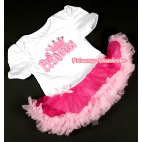 White Baby Jumpsuit Hot Light Pink Pettiskirt with Princess Print JS047