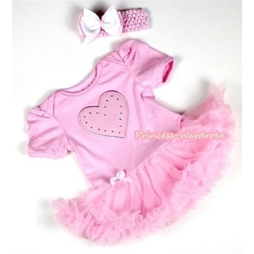 Light Pink Baby Jumpsuit Light Pink Pettiskirt With Light Pink Heart Print With Light Pink Headband Light Pink White Ribbon Bow JS066