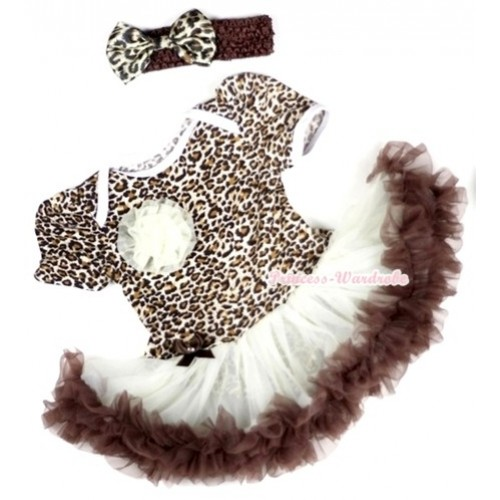 Leopard Baby Jumpsuit Cream White Brown Pettiskirt With One Cream White Rose With Brown Headband Black Leopard Satin Bow JS098