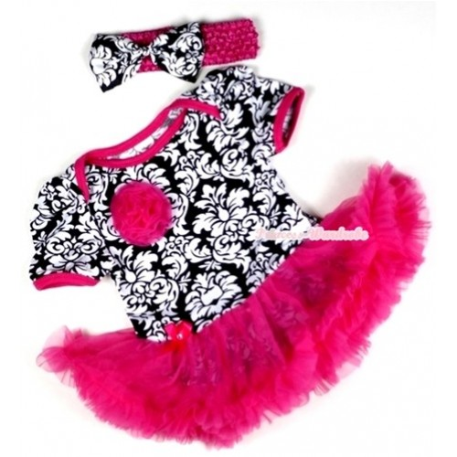 Hot Pink Damask Baby Jumpsuit Hot Pink Pettiskirt With One Hot Pink Rose With Hot Pink Headband Damask Satin Bow JS104