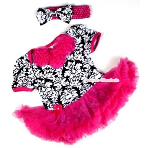 Hot Pink Damask Baby Jumpsuit Hot Pink Pettiskirt With Hot Pink Rosettes With Hot Pink Headband Damask Satin Bow JS105