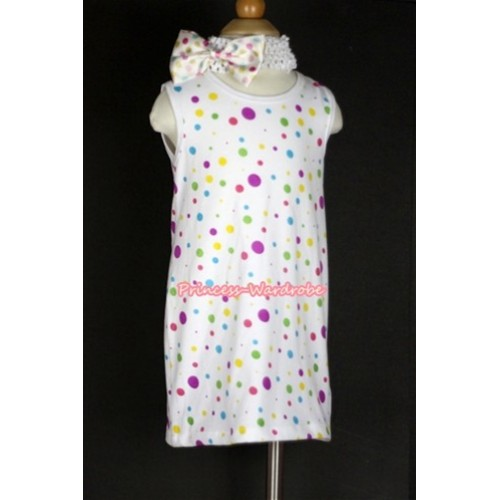 White Rainbow Polka Dots One-Piece Pettidress With White Headband White Rainbow Polka Dots Satin Bow CD003