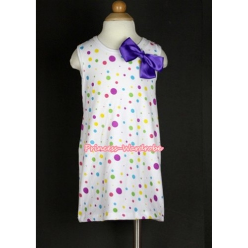 White Rainbow Polka Dots One-Piece Pettidress With Dark Purple Ribbon Bow CD007