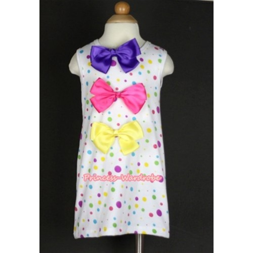 White Rainbow Polka Dots One-Piece Pettidress With Straight Dark Purple & Hot Pink & Yellow Ribbon Bow CD009