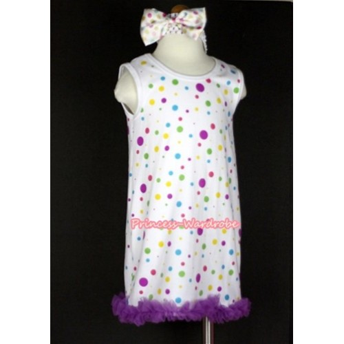 White Rainbow Polka Dots One-Piece Pettidress With Dark Purple Ruffles & White Headband White Rainbow Polka Dots Satin Bow CD011