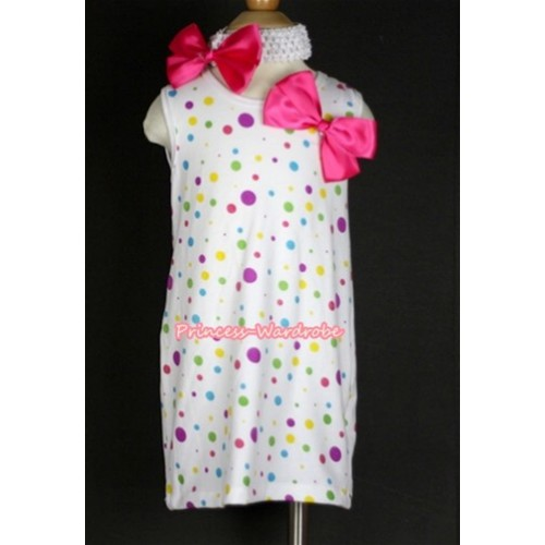 White Rainbow Polka Dots One-Piece Pettidress With Hot Pink Ribbon Bow & White Headband Hot Pink Ribbon Bow CD013