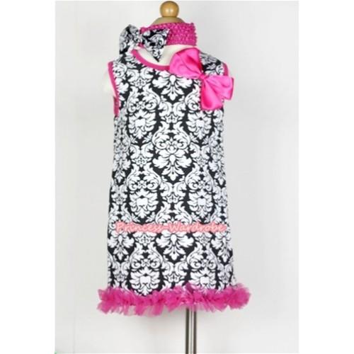 Hot Pink Damask One-Piece Pettidress With Hot Pink Ribbon Bow & Ruffles & Hot Pink Headband Damask Satin Bow CD015