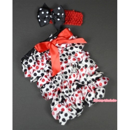 Red Black Polka Dots Petti Romper with Red Bow and Red Headband Black White Polka Dots Bow Set RH95
