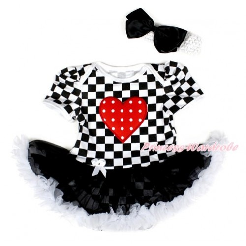 Black White Checked Baby Bodysuit Jumpsuit Black White Pettiskirt With Red White Dots Heart Print With White Headband Black Silk Bow JS2575