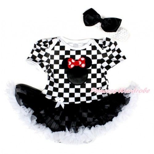 Black White Checked Baby Bodysuit Jumpsuit Black White Pettiskirt With Minnie Print With White Headband Black Silk Bow JS2577
