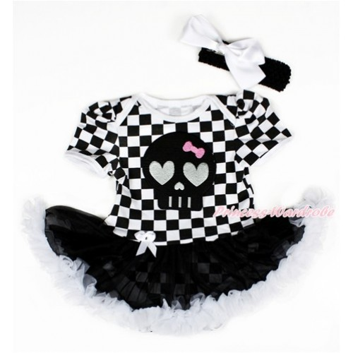 Black White Checked Baby Bodysuit Jumpsuit Black White Pettiskirt With Black Skeleton Print With Black Headband White Silk Bow JS2581