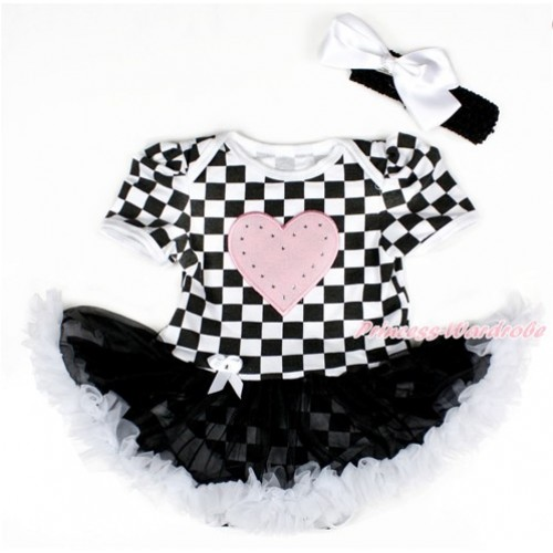 Black White Checked Baby Bodysuit Jumpsuit Black White Pettiskirt With Light Pink Heart Print With Black Headband White Silk Bow JS2585