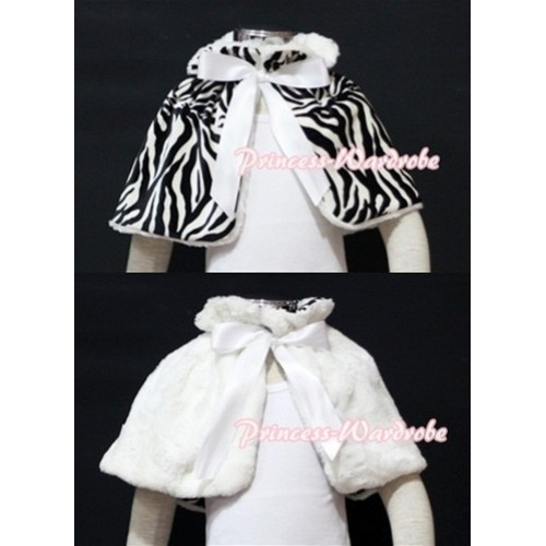 Black White Zebra Reversible Shawl Coat with White Ribbon SH04