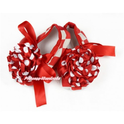 Baby Red White Checked Ribbon Crib Shoes with Minnie Dots Rosettes S612