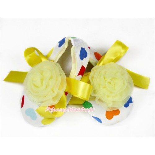 Baby Rainbow Heart Yellow Ribbon Crib Shoes with Yellow Rosettes S620